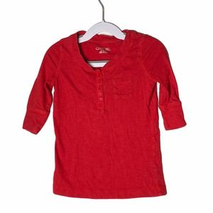 4/$20 Girls Cherokee Red Henley Tee Size XS (4-5)